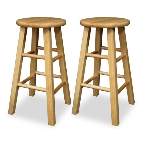 Winsome 83224 Beech Beechwood SET OF 2 KITCHEN 24 INCH SQUARE LEG STOOLS