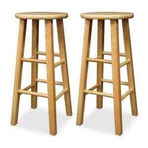 Winsome 83230 Beech Beechwood SET OF 2 BAR 30 INCH SQUARE LEG STOOLS