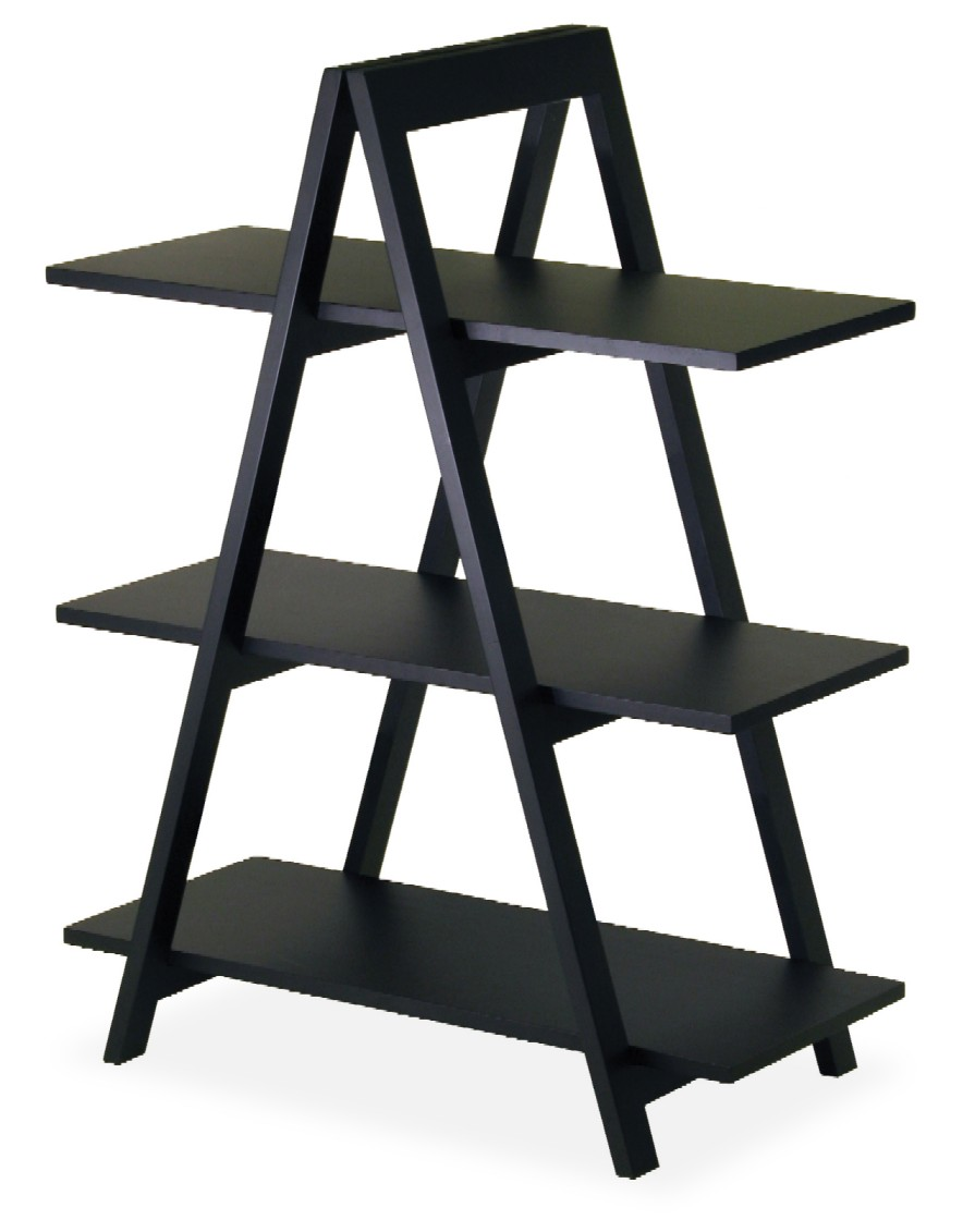 Winsome 20130 Black Beechwood A-FRAME SHELF 3-TIER