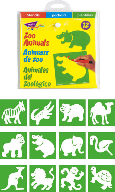 TREND ENTERPRISES INC. T-65005 STENCILS ZOO ANIMALS