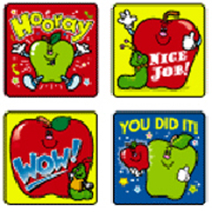 CARSON DELLOSA CD-0601 STICKERS APPLES 120 PACK ACID AND LIGNIN FREE