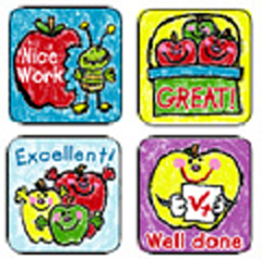 CARSON DELLOSA CD-0602 STICKERS APPLES: KID-DRAWN 120 PACK ACID AND LIGNIN FREE