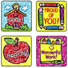 CARSON DELLOSA CD-0630 STICKERS SCHOOL DAYS: KID-DRAWN 120 PACK ACID AND LIGNIN FREE