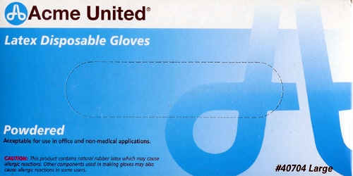 Latex Gloves - ACME UNITED CORPORATION ACM40704 LATEX GLOVES POWDERED LARGE 100/BX