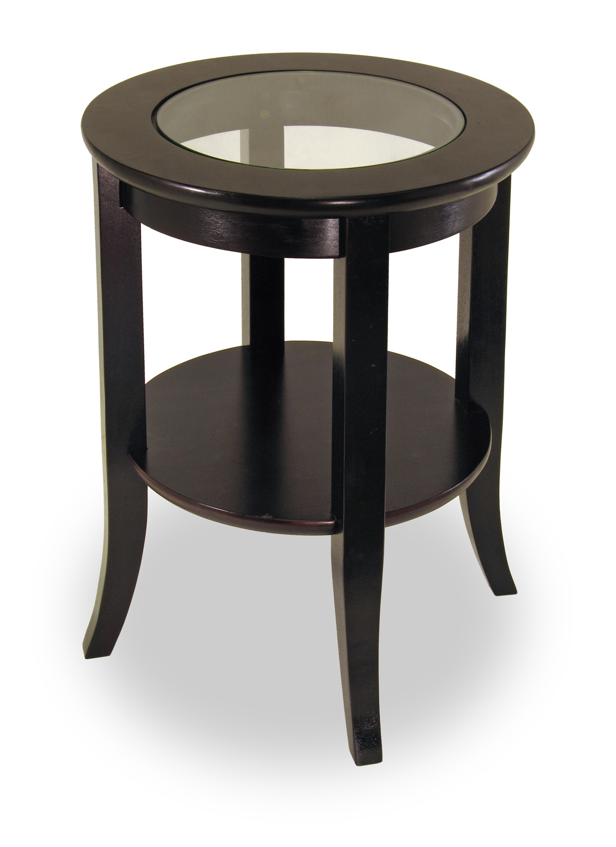 Winsome 92218 Espresso Solid Wood TABLE END RND W/GLASS TOP&SHELF