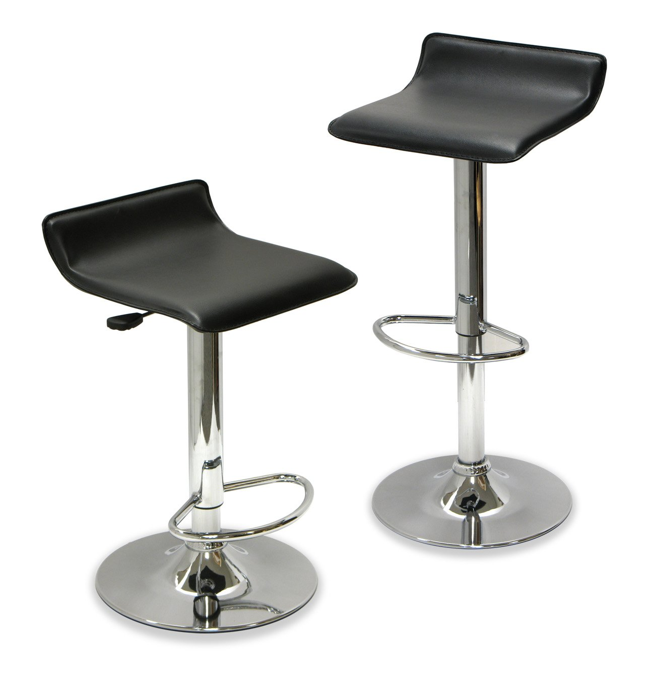Winsome 93329 Metal leg black cushion seat Iron Faux seat SET OF 2 STOOL ADJUSTABLE K/D FAUX SEAT