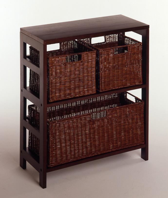 Winsome 92649 Espresso Beechwood Rattan 4PC SHELF AND BASKET SET 2-SECT WITH 3 BASKET