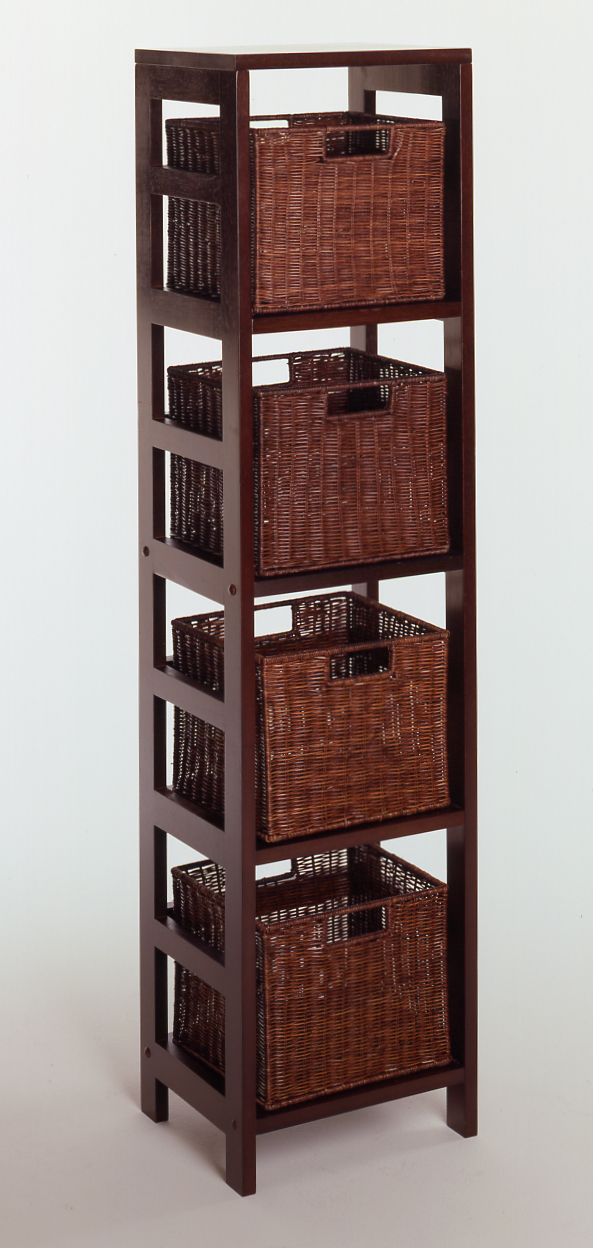 Winsome 92814 Espresso Beechwood Rattan 5PC SET SHELF 4-SECT WITH 4 SMALL BASKETS