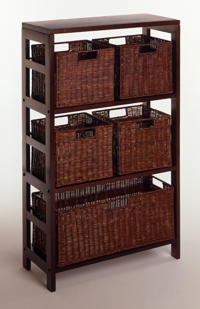 Winsome 92625 Espresso Beechwood Rattan 6PC SET SHELF AND BASKETS 3-SECT WITH 5 BASKETS