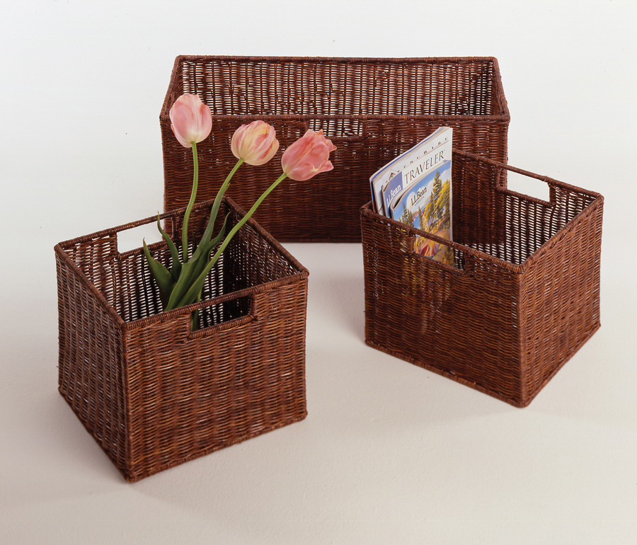 Winsome 92323 Espresso Beechwood SET OF 3 BASKETS 1 LARGE & 2 SMALL