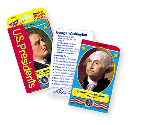TREND ENTERPRISES T-23013 POCKET FLASH CARDS PRESIDENTS-3 X 5 56 TWO-SIDED CARDS