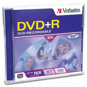 Verbatim 16x DVD+R Media 4.7GB 120mm Standard 94916
