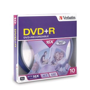 Verbatim 16x DVD+R Media 4.7GB 120mm Standard 95032