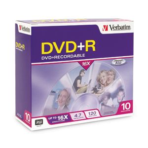 Verbatim 16x DVD+R Media 4.7GB 120mm Standard 95097