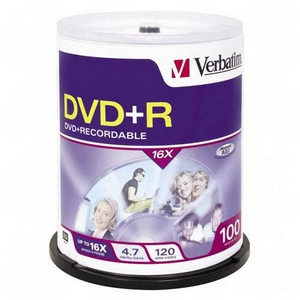 Verbatim 16x DVD+R Media 4.7GB 120mm Standard 95098