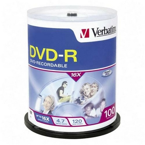 Verbatim 16x DVD-R Media 4.7GB 120mm Standard 95102