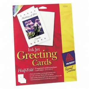 Avery Dennison Ink Jet Matte Coated Half-Fold Greeting Card 5.5 Inch x 8.5 Inch Matte 20 Card  20 Envelope Greeting Card 3265
