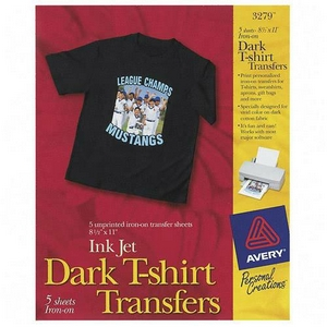 Avery Dennison Dark T-Shirt Transfers Letter 8.5 Inch x 11 Inch Matte 5 Transfers Iron-on Transfer 3279
