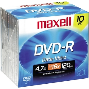 Maxell 16X Dvd-R Media 4.7Gb 120Mm Standard 638004
