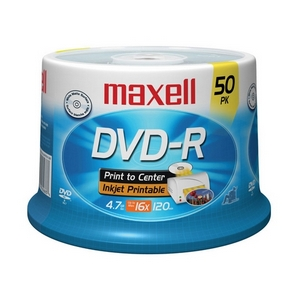 Maxell 16x DVD-R Media 4.7GB Ink Jet Printable  Hub Printable 120mm Standard 638022