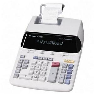 Sharp Calculator w- Tax Keys 12 Characters Fluorescent Power Adapter EL2192RII