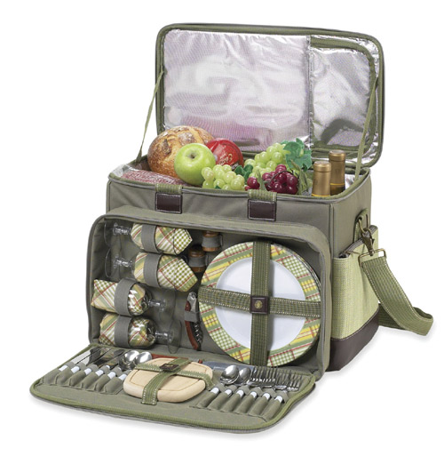 Picnic at Ascot 229-H Hamptons Deluxe Picnic Cooler-4 person Olive Tweed PAA123