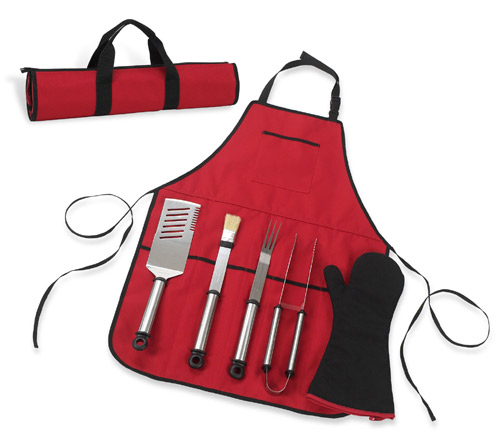 Picnic at Ascot BO5-BLK B.B.Q-Chef s Barecue Apron & Tools Black