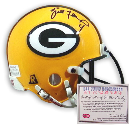 Brett Favre Hand Signed Mini Packers Helmet