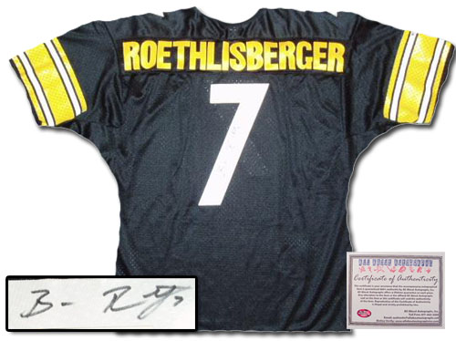 Authentic Jerseys - Ben Roethlisberger Hand Signed Authentic Style Pittsburgh Steelers Black Jersey