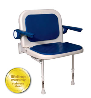 AKW Medicare 04140P 4000 Series Shower Seat Wide Padded with Back and Arms - Blue - 27.75 Inch W