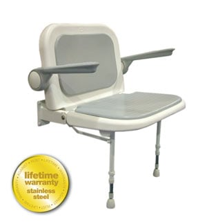 ARC Inc 04240P 4000 Series Shower Seat Wide Padded with Back and Arms - Gray - 27.75 Inch W