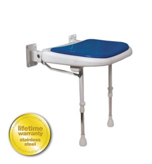 AKW Medicare 04070P 4000 Series Shower Seat Padded - Blue - 18.125 Inch W
