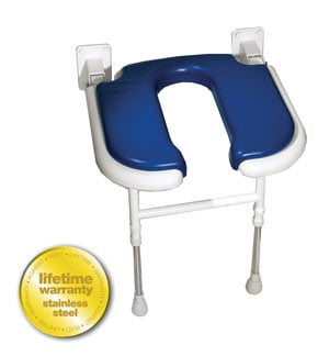 ARC Inc 04100P 4000 Series Shower Seat U-shaped Padded v Blue - 18.125 Inch W