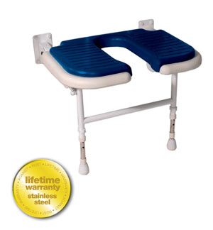 ARC Inc 04120P 4000 Series Shower Seat Wide U-shaped Padded v Blue - 27.75 Inch W