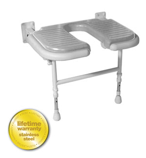 AKW Medicare 04220P 4000 Series Shower Seat Wide vU-shaped Padded v Gray - 27.75 Inch W