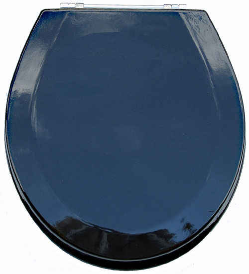 American Trading House MDF-304 PremiumToilet Wood Seat with Chrome Hinges Metallic Black