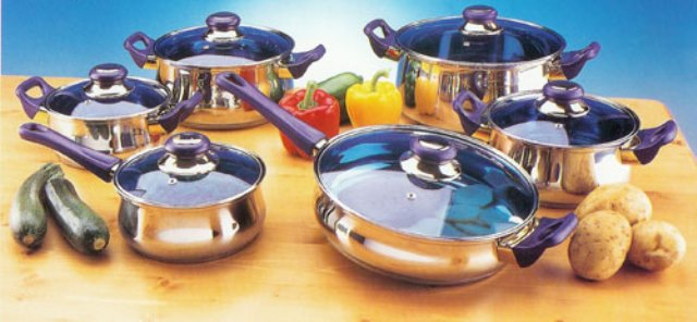 American Trading House SC-SS004 12 pc Blue Glass S/S Cookware Set -Custom
