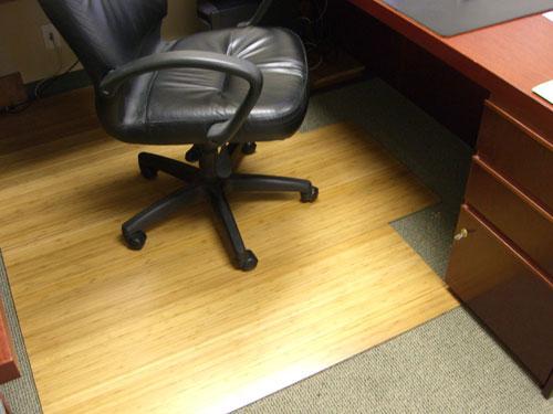 Anji Mountain AMB24008 Natural Bamboo Roll-Up Bamboo & Hardwood Office Chair Mat 55 X 47