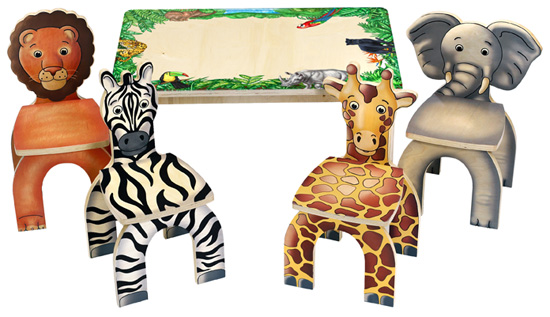 Anatex STA7728 Safari Table & 4 Animal Chairs