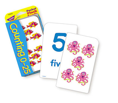 TREND ENTERPRISES T-23002 POCKET FLASH CARDS COUNTING 0-25-3 X 5 56 TWO-SIDED CARDS