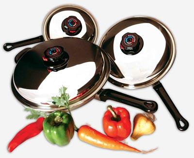 Precise Heat 6pc Stainless Steel Skillet Set with Steam Control Knob