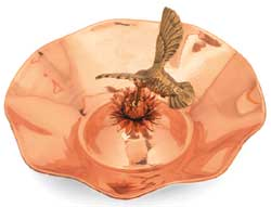 Achla 13 Inch Hummingbird Bird Bath Polished Copper