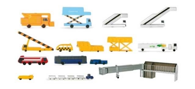 Daron Worldwide Trading  HE519472A Herpa 19 Piece Ground Equipment New Colors