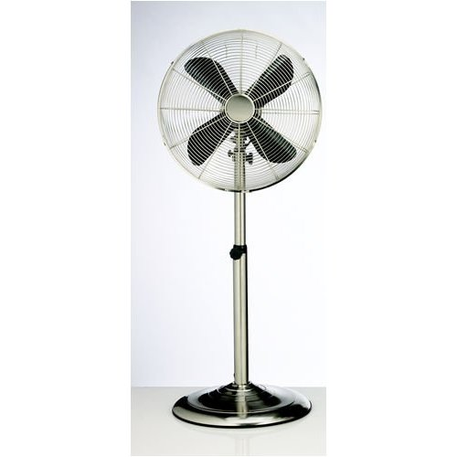 Deco Breeze DBF0208 16 Inch Metal Floor Standing Fan w/Adjustable Height - Nickel