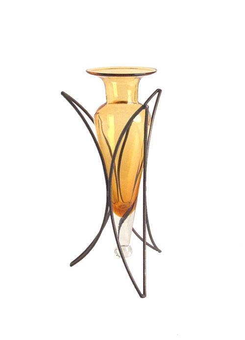 Danya B MC754-A Amphora Vase on Half Moon Metal Stand-Amber