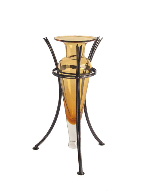 Danya B MC750-A Amphora Vase on Wire Metal Stand-Amber