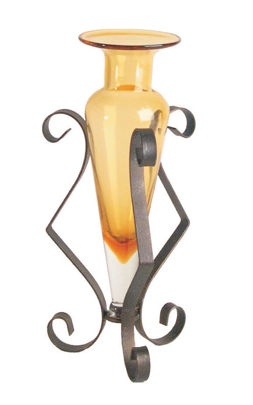 Danya B MC752-A Amphora Vase on Spring like Metal Stand-Amber