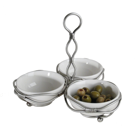Tie - Danya B PW1850 3 Mini Bowl Server On Tie-up Metal Stand
