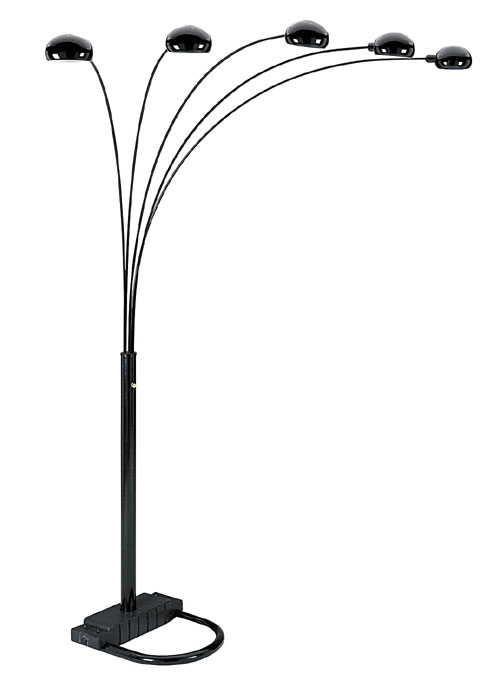 00ore6962bk 5 Arms Arch Floor Lamp - Black