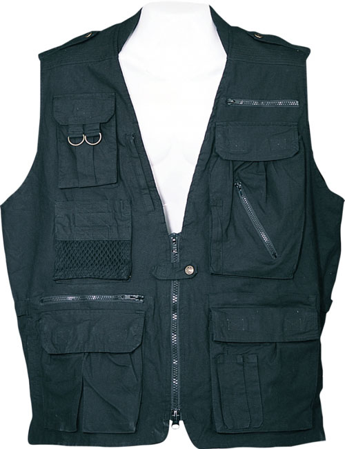 Safari Jackets - Humvee HMV-VS-BK-XXL Humvee Safari Vest Black XXLarge